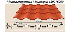Металочерепиця Монтерей 1200*6000